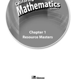California Mathematics Grade 7 Resource Masters - Chapter 1 [ 1632 x 1275 Pixel ]