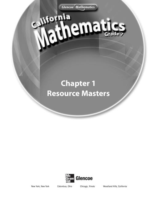 small resolution of California Mathematics Grade 7 Resource Masters - Chapter 1