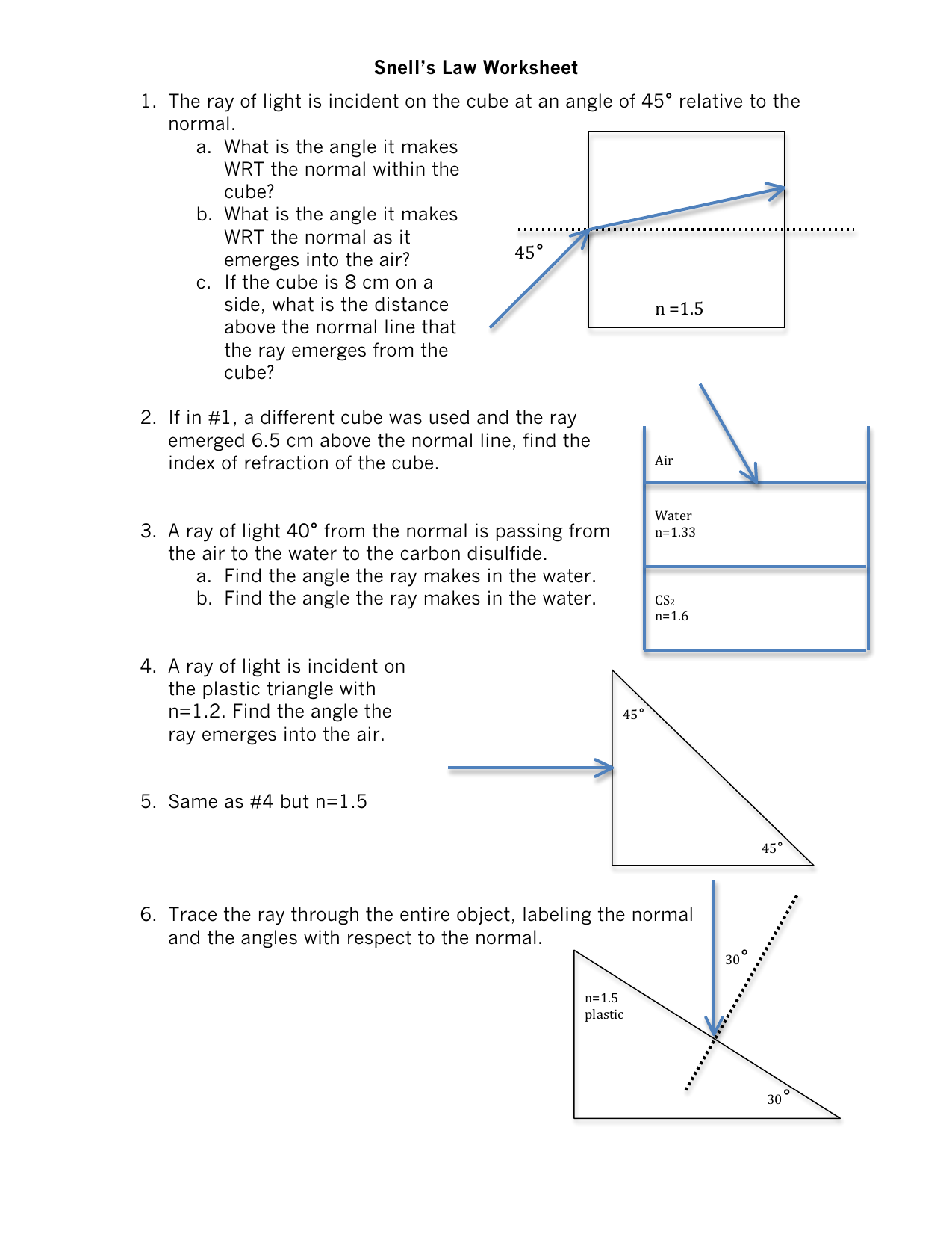 Index Of Refraction Worksheet