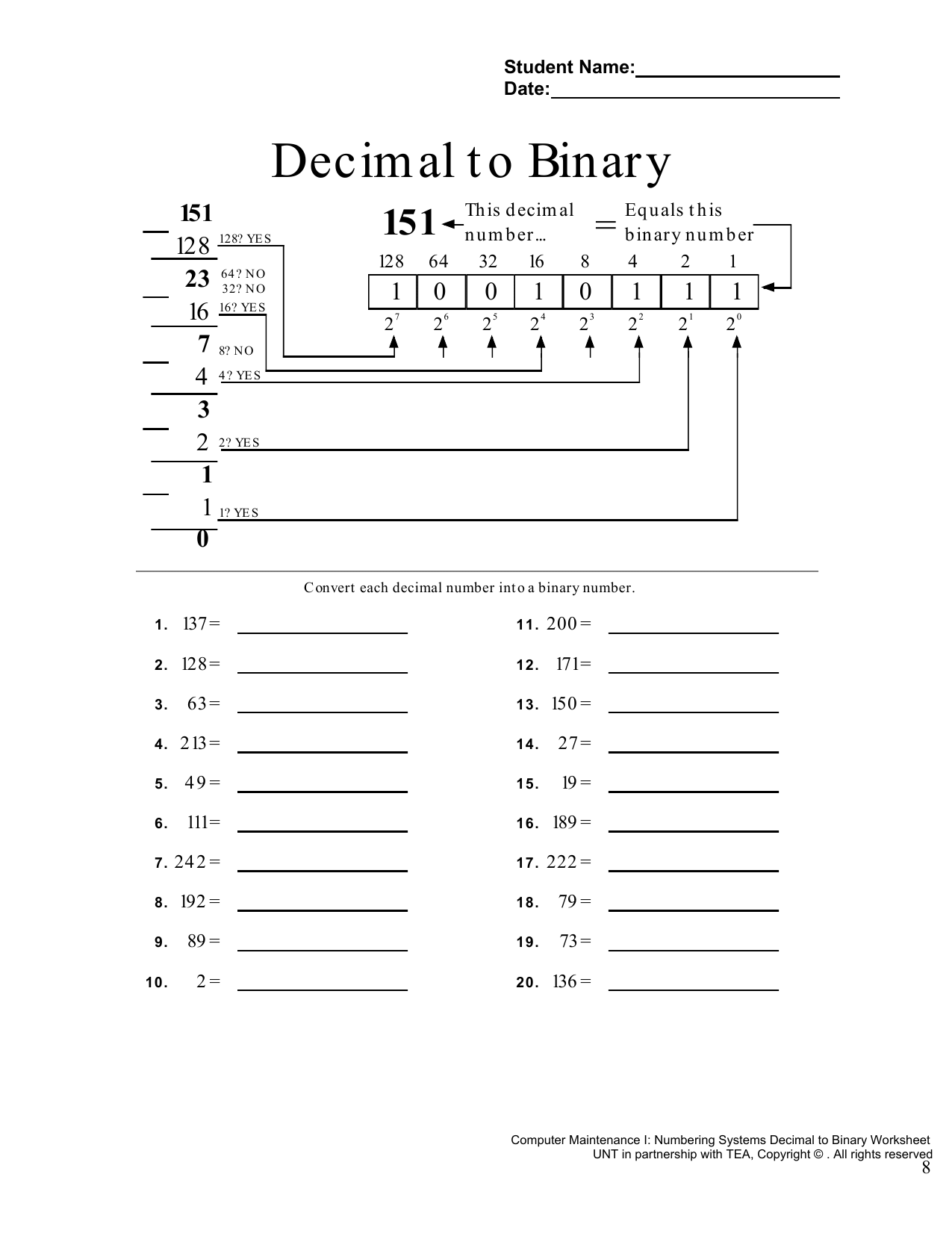 Binary Amp Hexidecimal Number Worksheet And Quiz