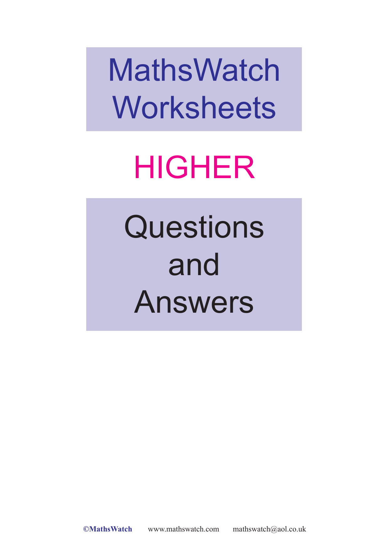 hight resolution of mathswatch-higher-worksheets-aw
