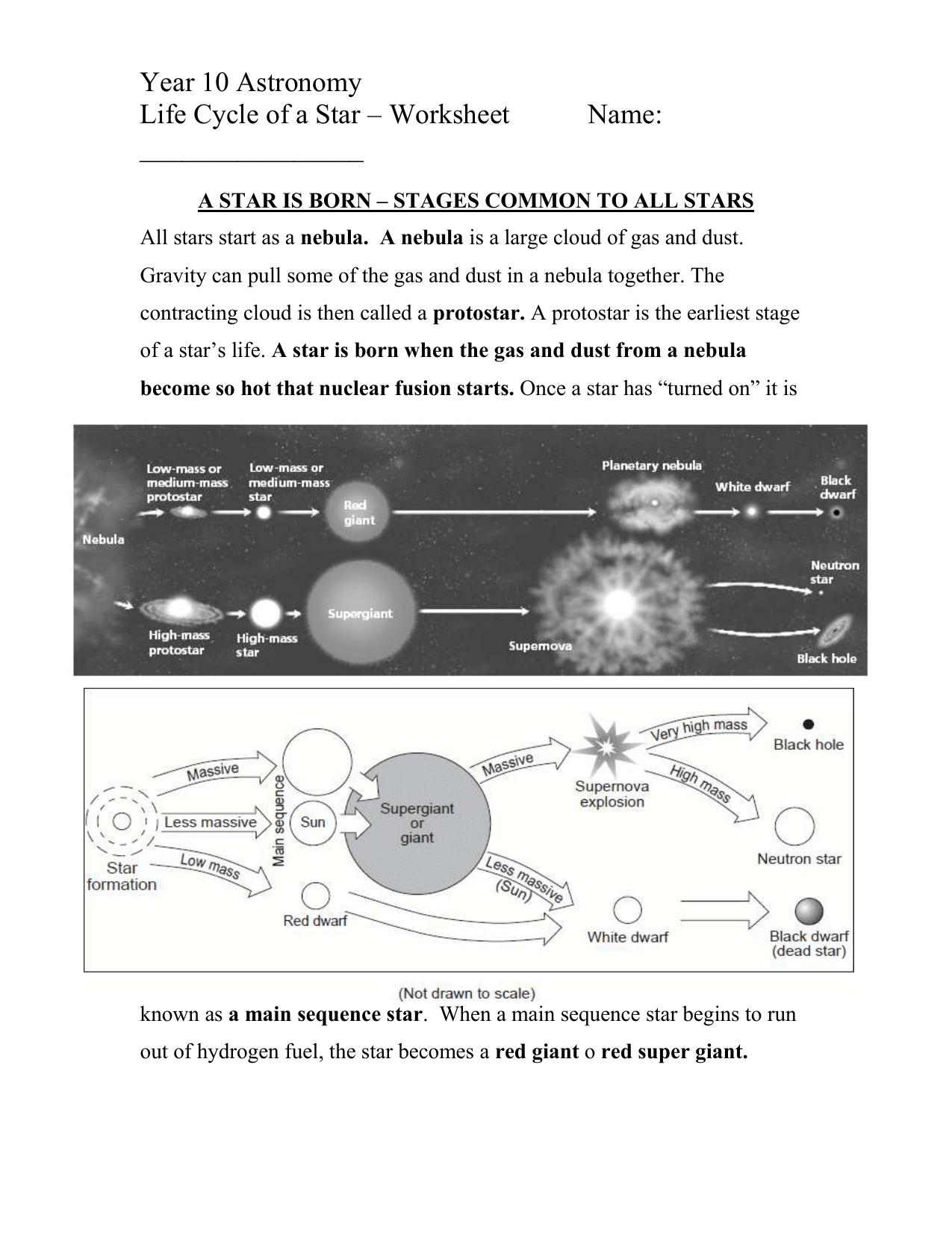 Life Cycle Of Stars Worksheet2