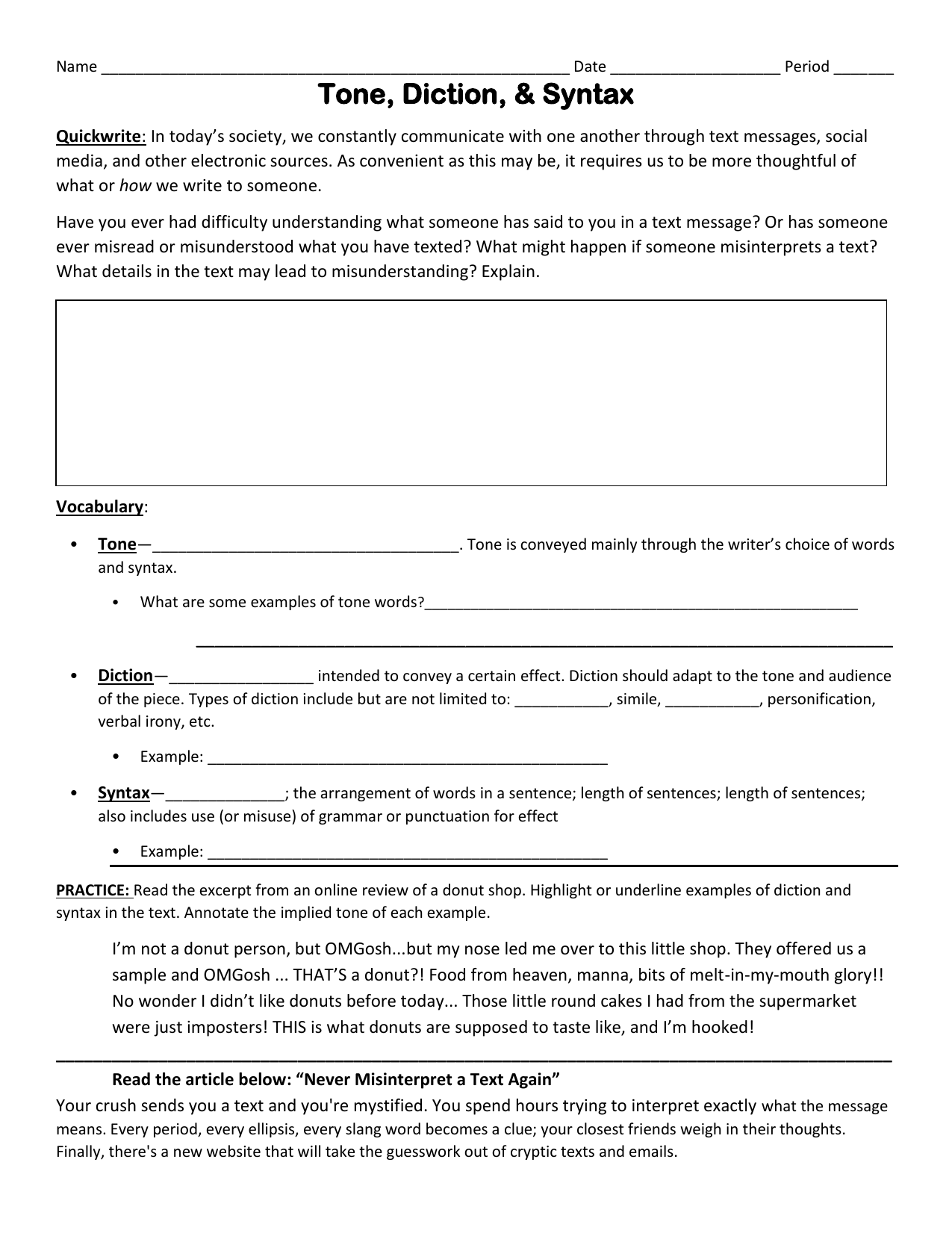 Tone Diction Syntax Worksheet S