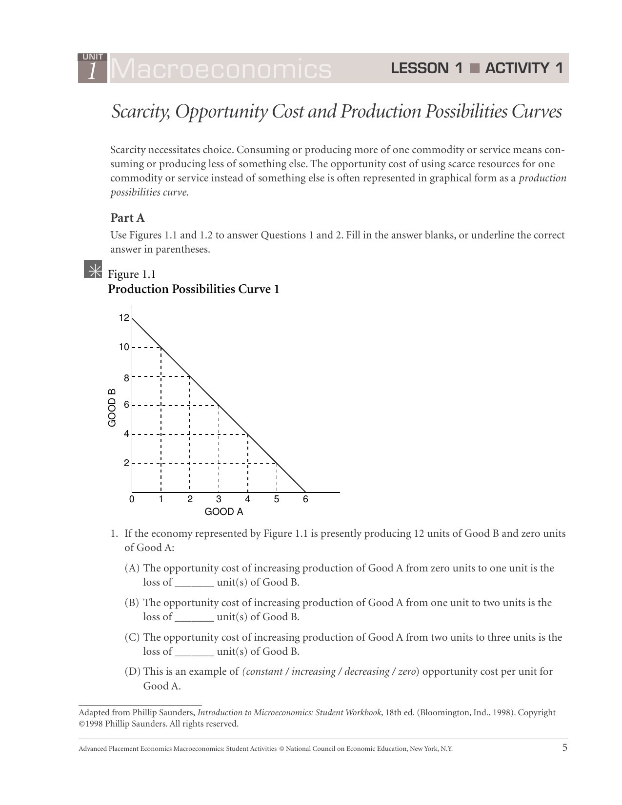 Opportunity Cost Worksheet Answers
