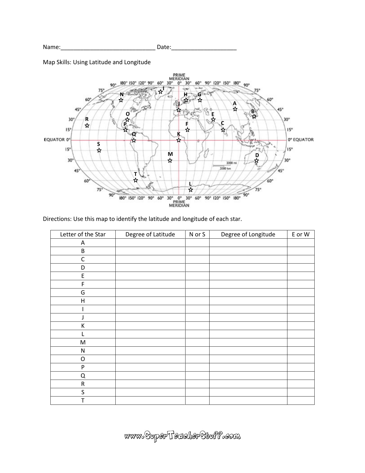Using Latitude And Longitude Worksheet