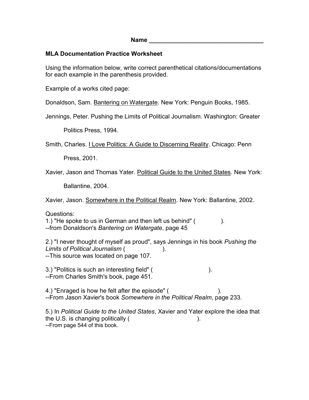 Mla Documentation Practice Worksheet 10