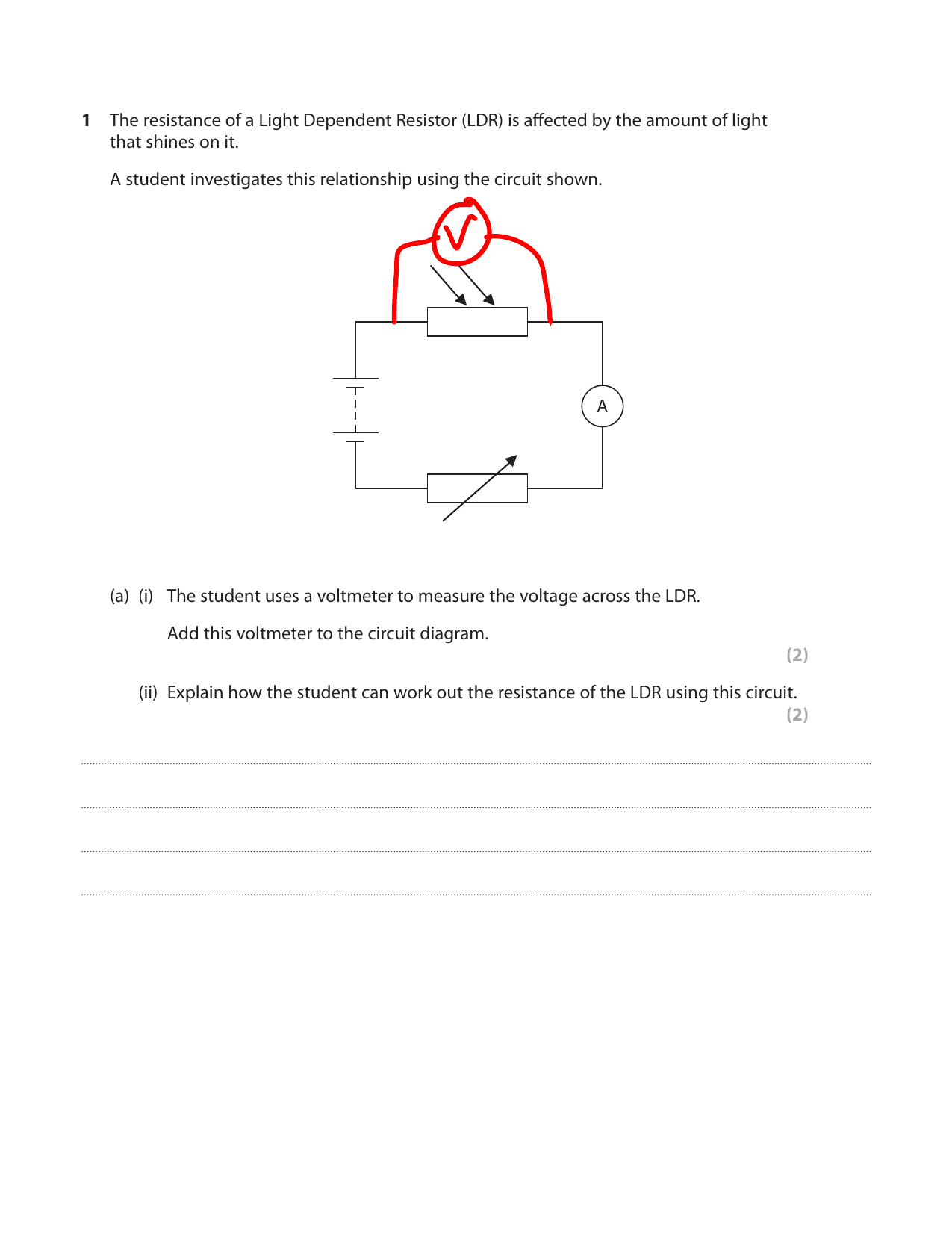 hight resolution of the home of revision for more awesome gcse and a level resources visit us at www savemyexams co uk the resistance of a light dependent resistor ldr is
