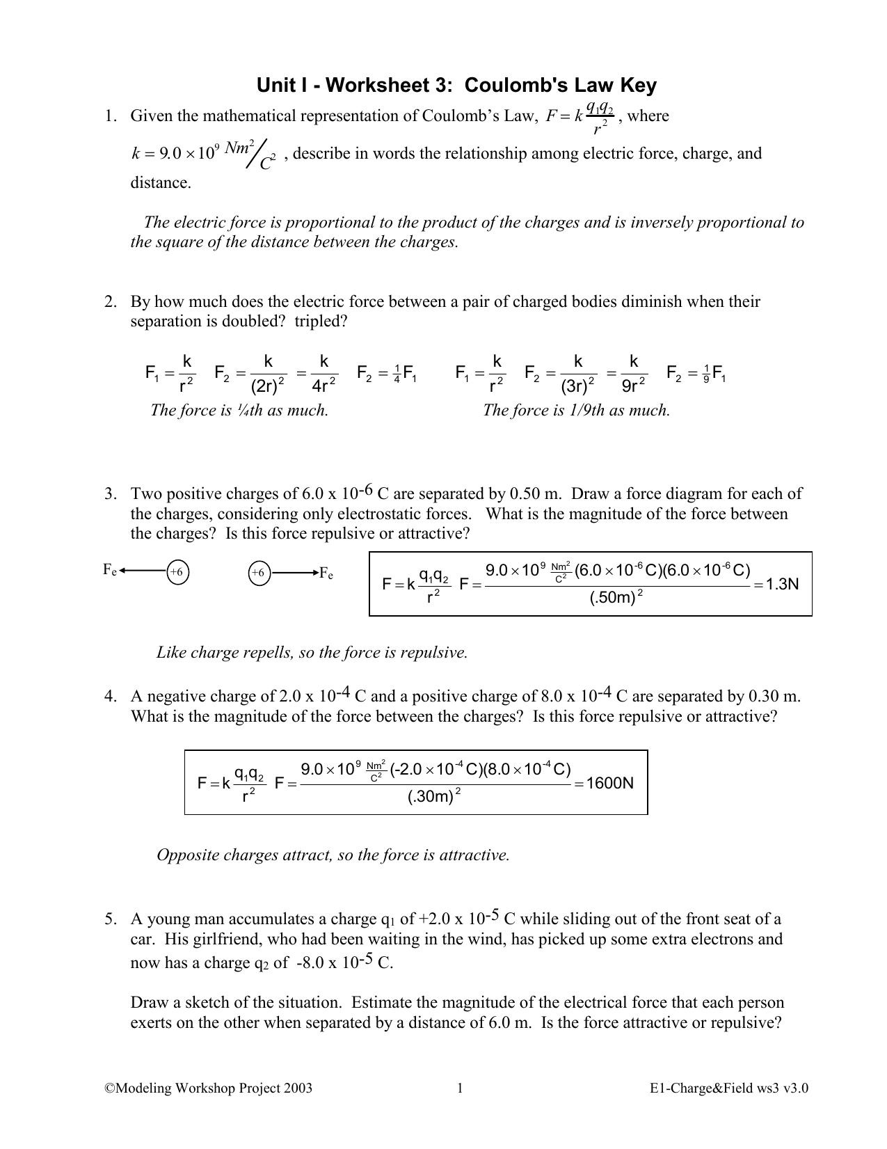 Electrostatic Force Worksheet