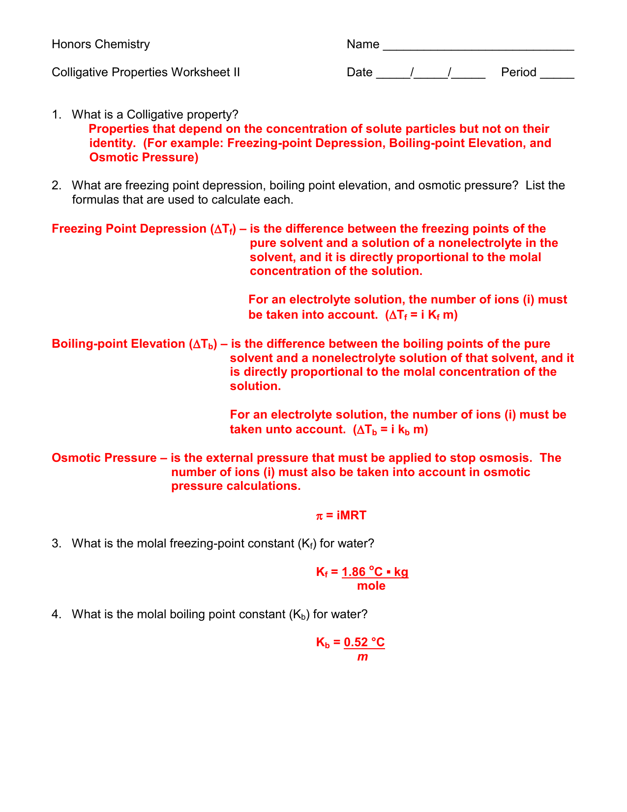 Colligative Properties Worksheet Ii Answer Key 11 12