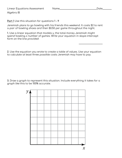 small resolution of Linear Equations Assessment 9th grade algebra IB