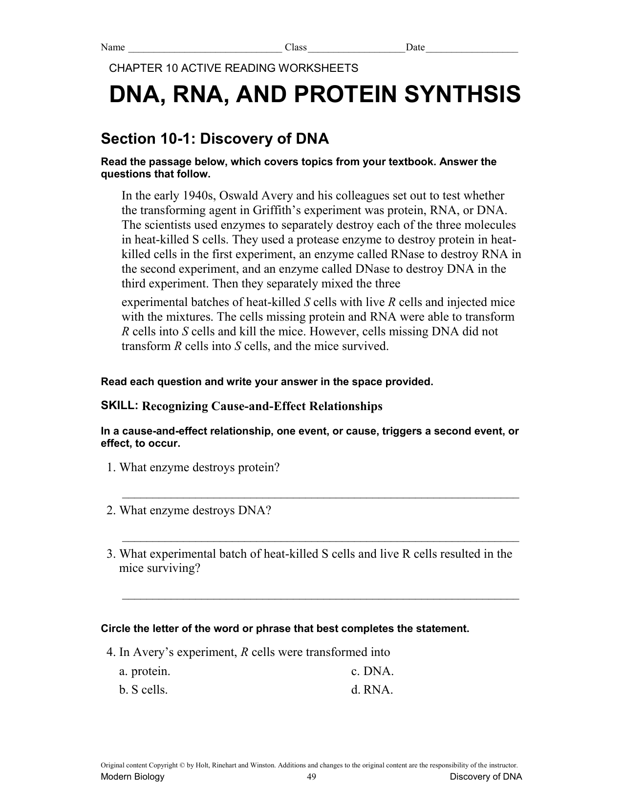 Dna Protein Synthesis Ch 10 Worksheet Answers