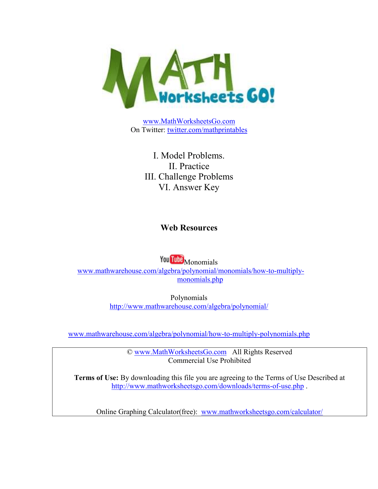 Multiplying Monomials And Polynomials Worksheet Basic