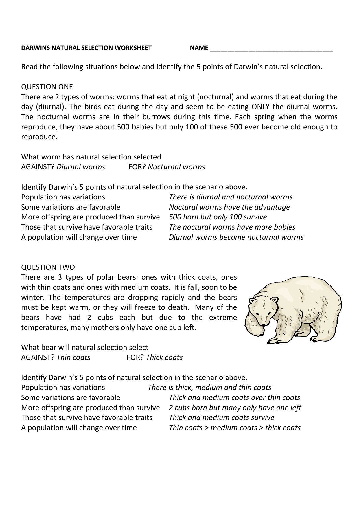 Worksheet Charles Darwin Natural Selection