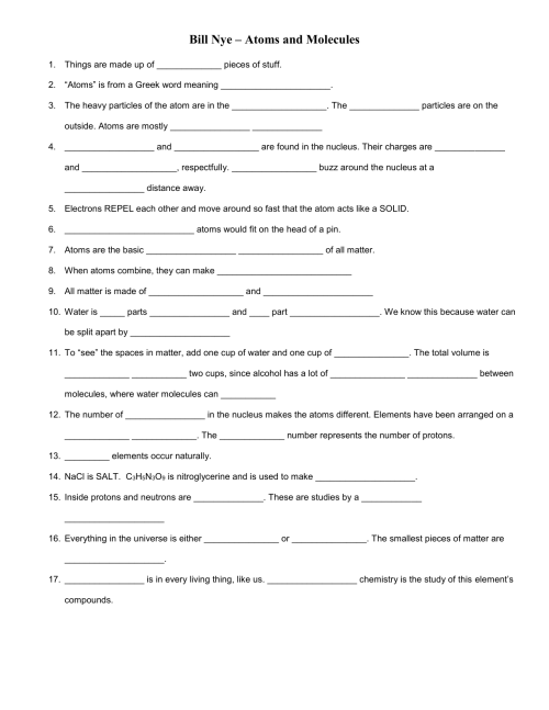 small resolution of 26 Bill Nye Atoms And Molecules Worksheet - Worksheet Resource Plans
