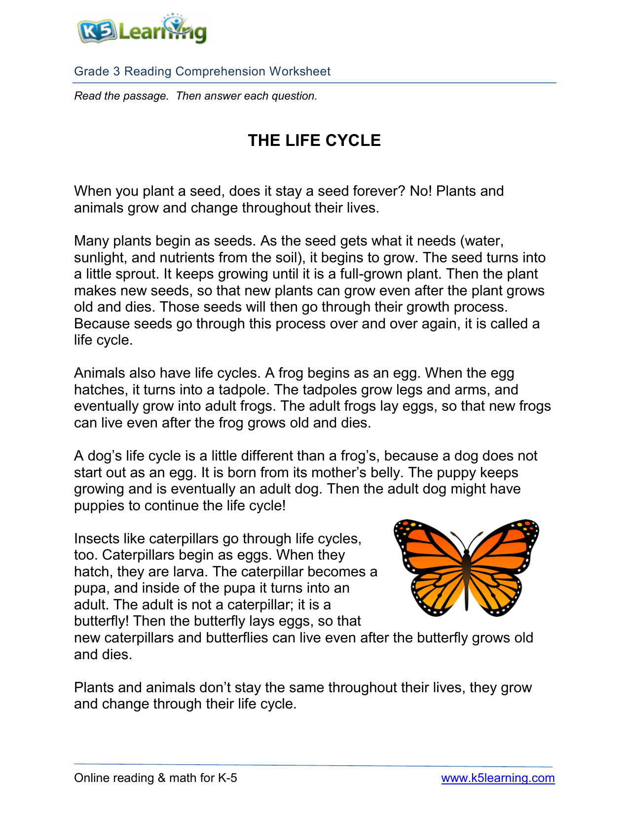 3rd Grade 3 Reading Life Cycle
