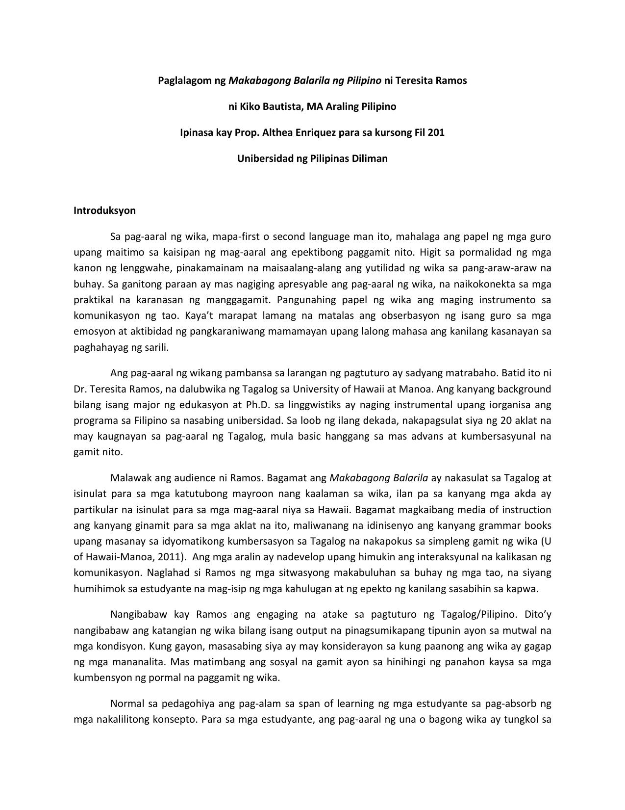 Paglalagom Ng Makabagong Balarila Ng Pil