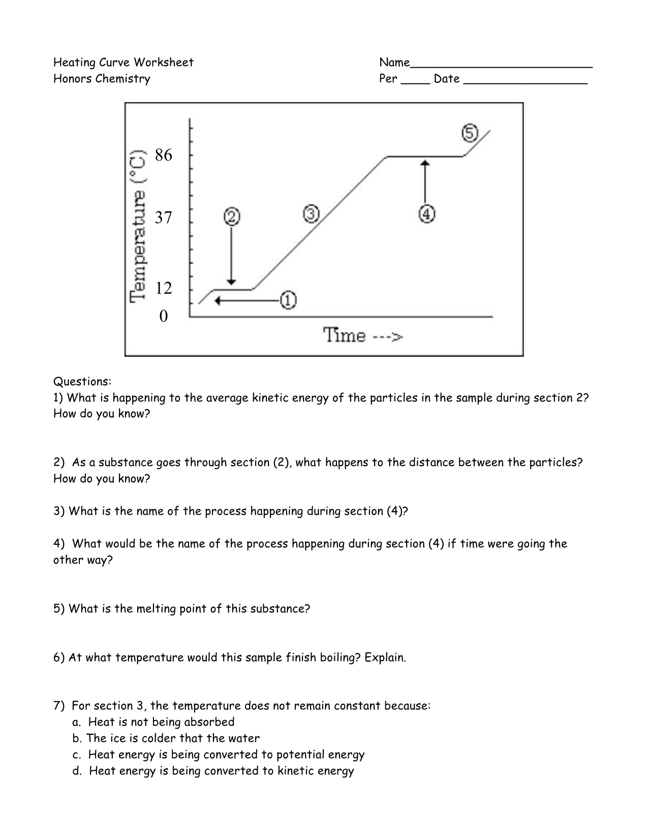 Heating Curve Worksheet 1