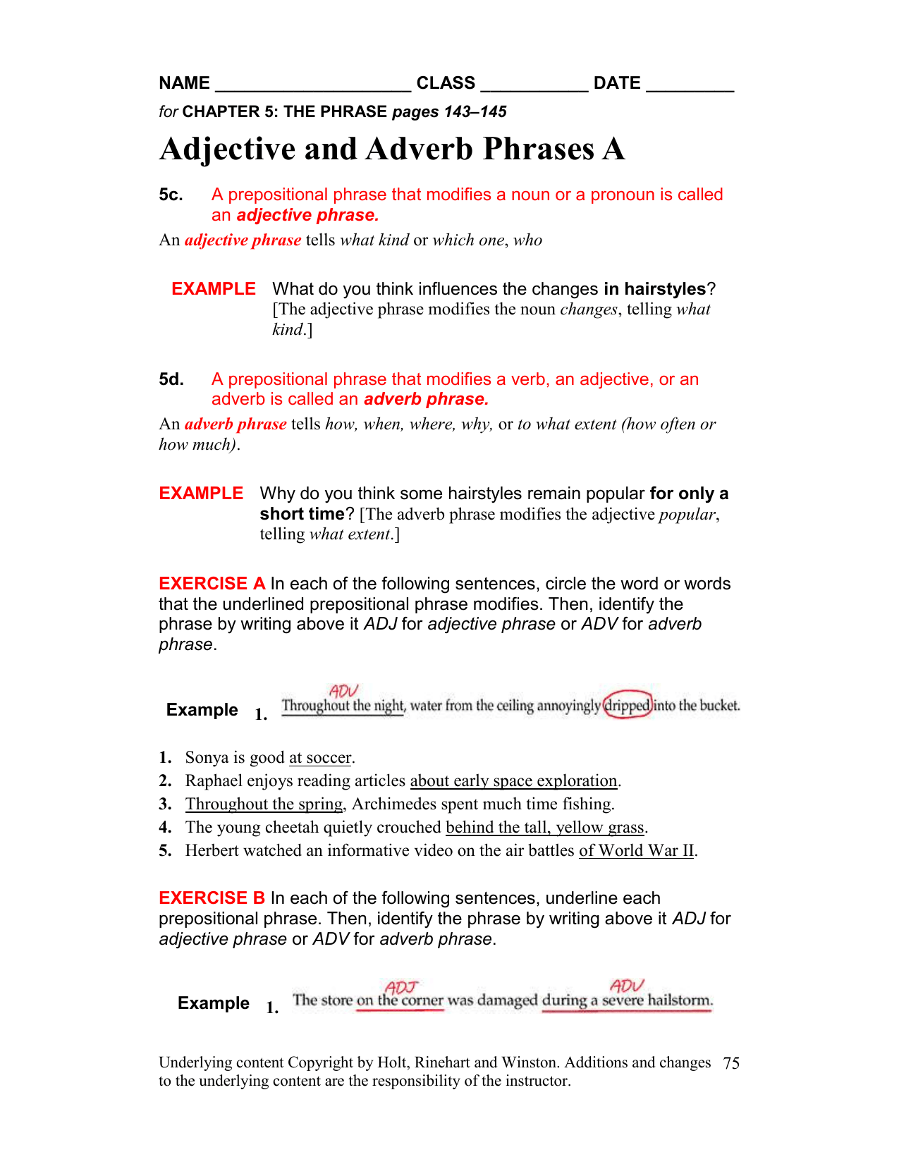 Prepositions And Adverbs Worksheet