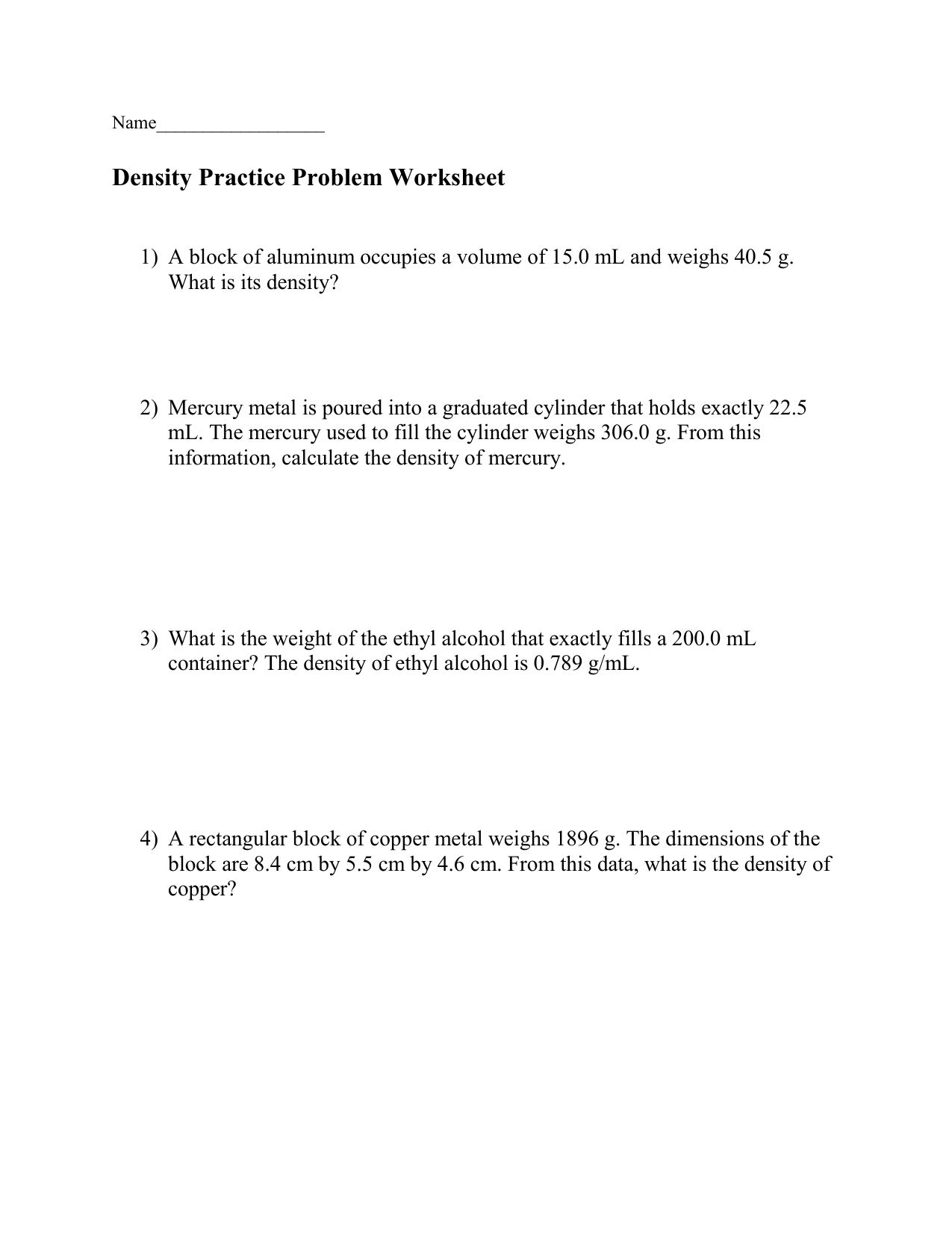 Density Practice Problem Worksheet Answers A Block Of