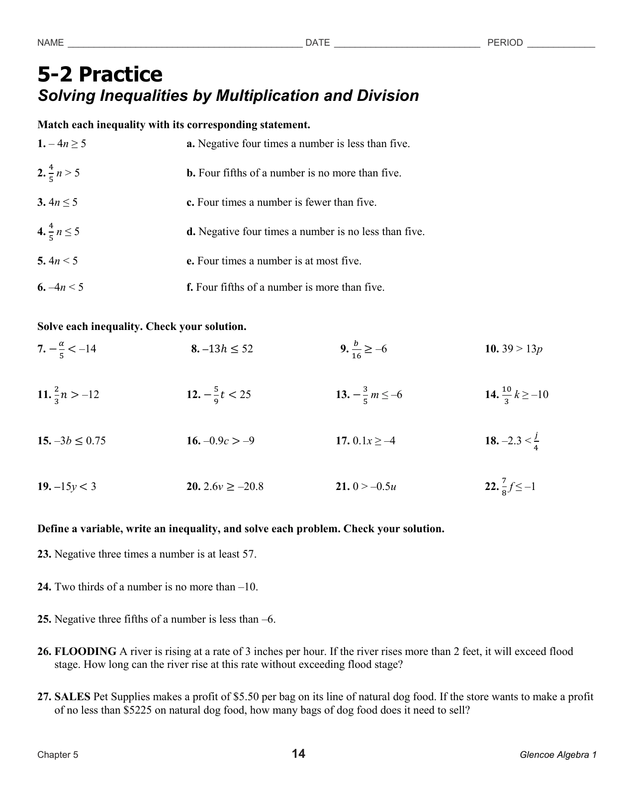 Practice Worksheet Solving Inequalities By Multiplication