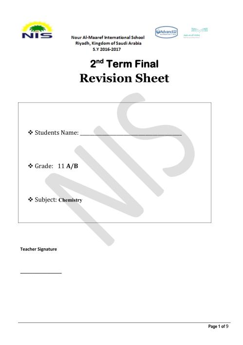 small resolution of Grade-11-Chemistry-Revisionsheet
