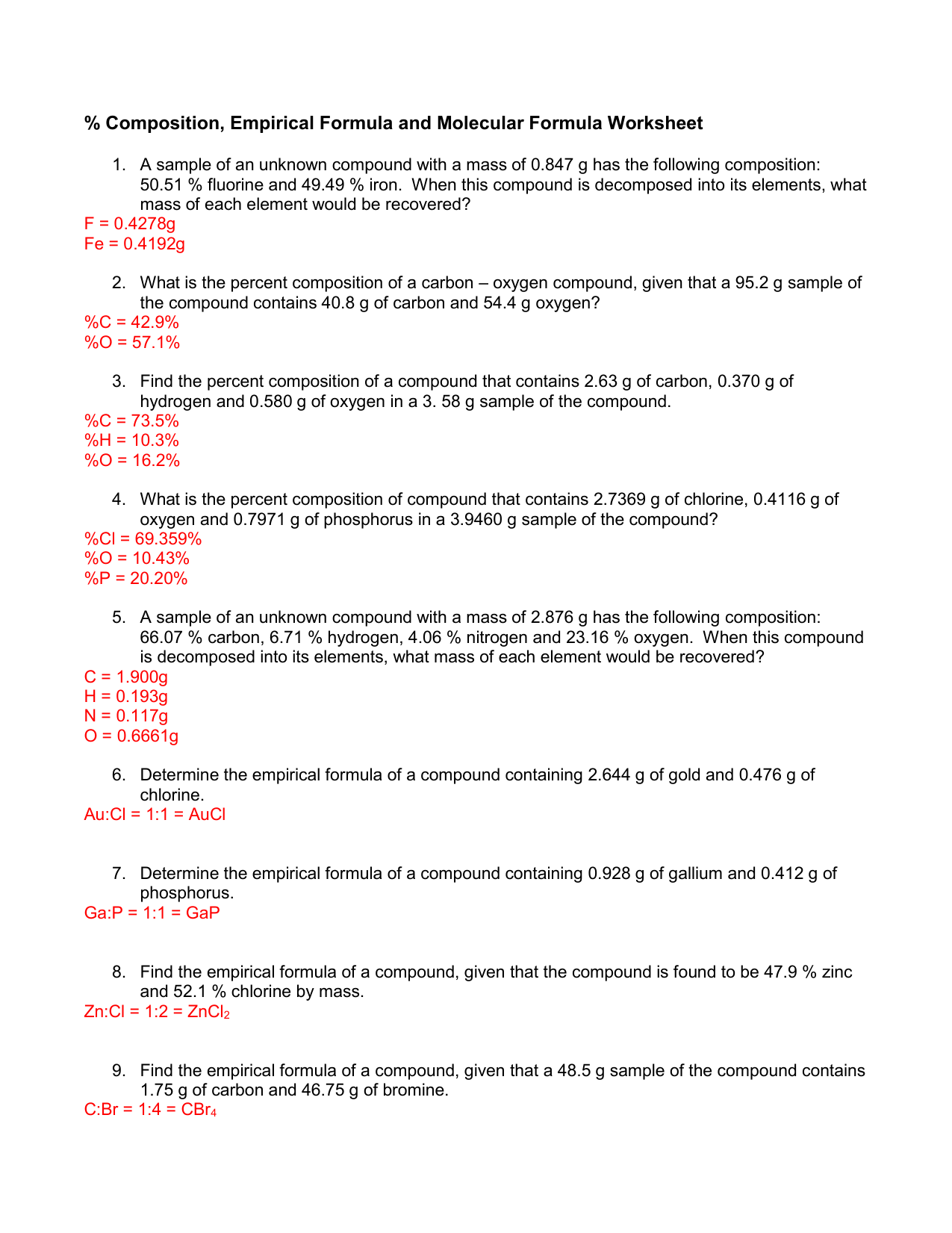 Comp Empirical And Molecular Worksheet Answer Key