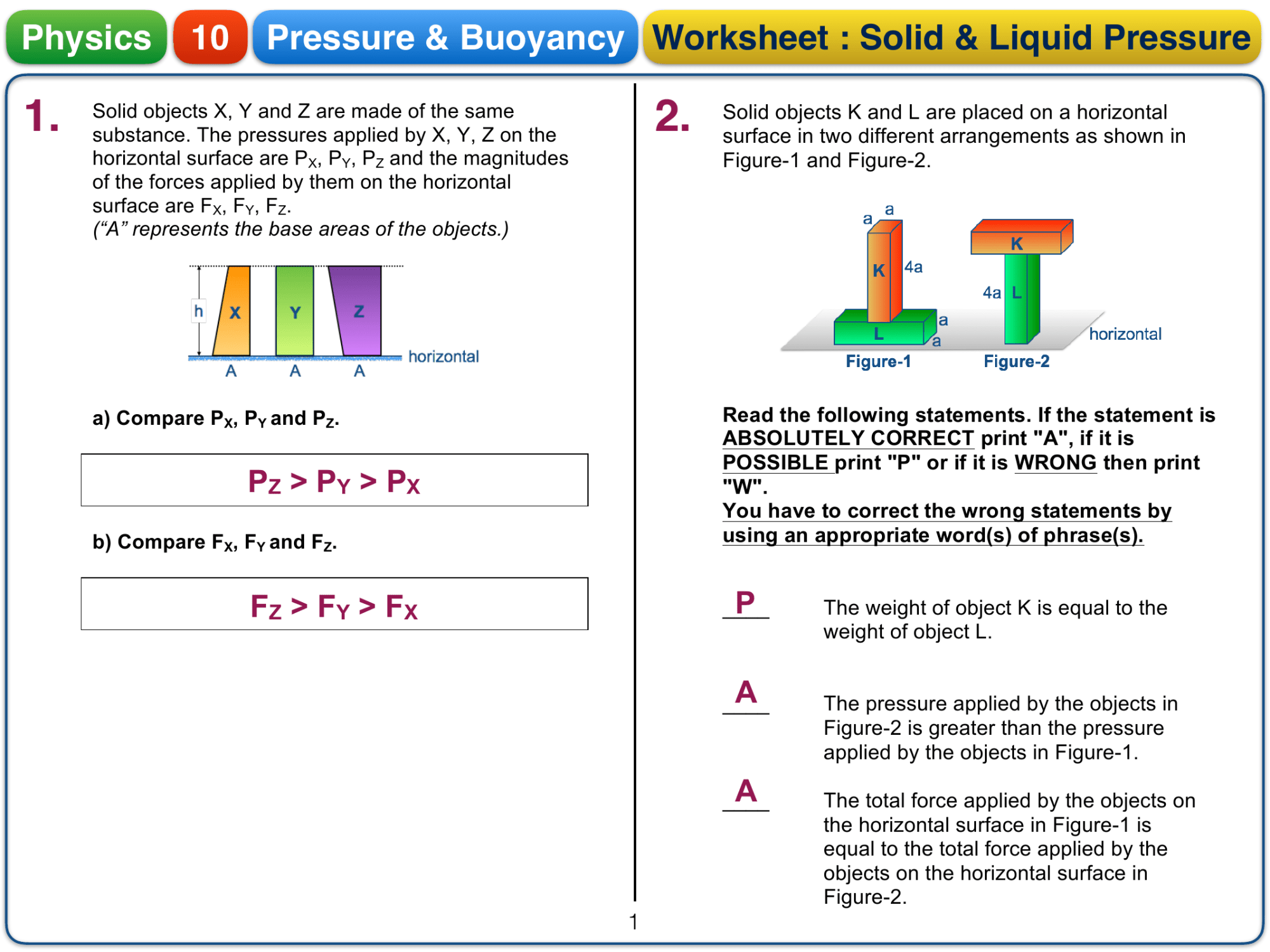 hight resolution of Pressure worksheet - Answer key-1