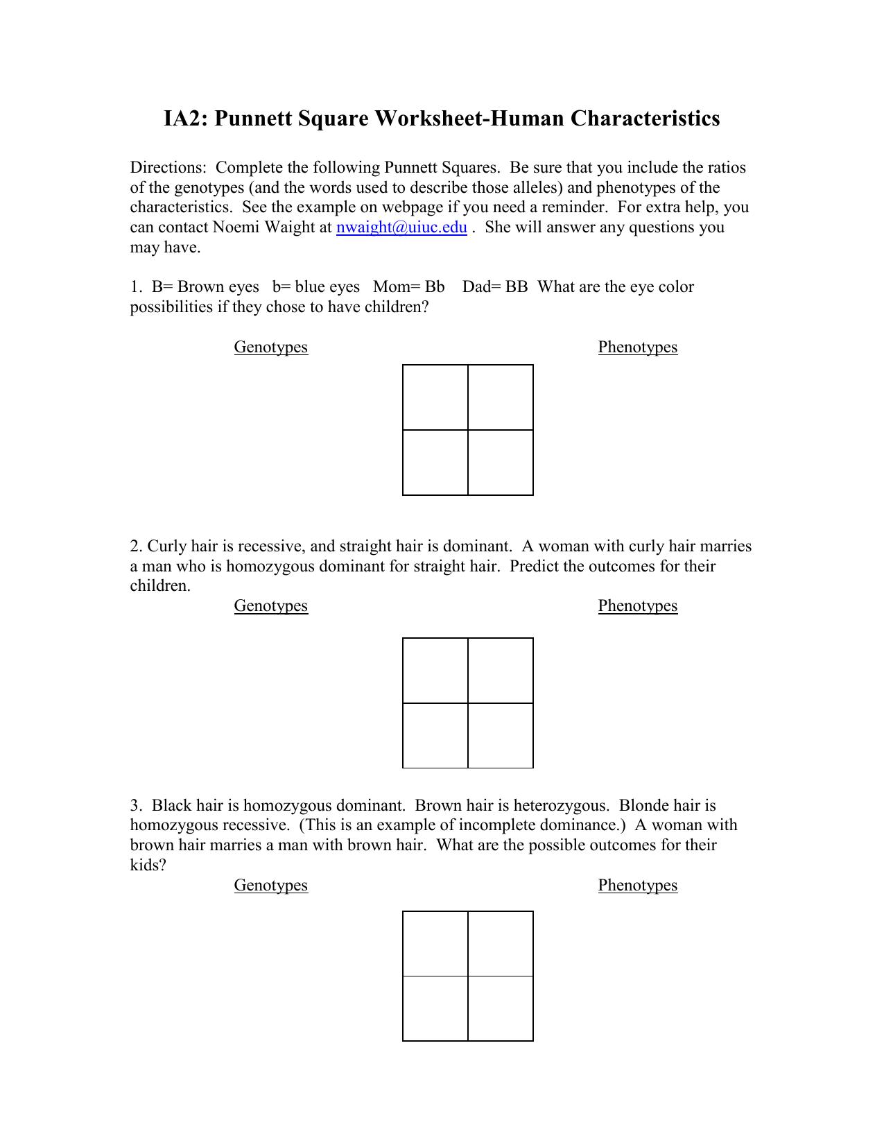 Punnett Genetics Problems 1