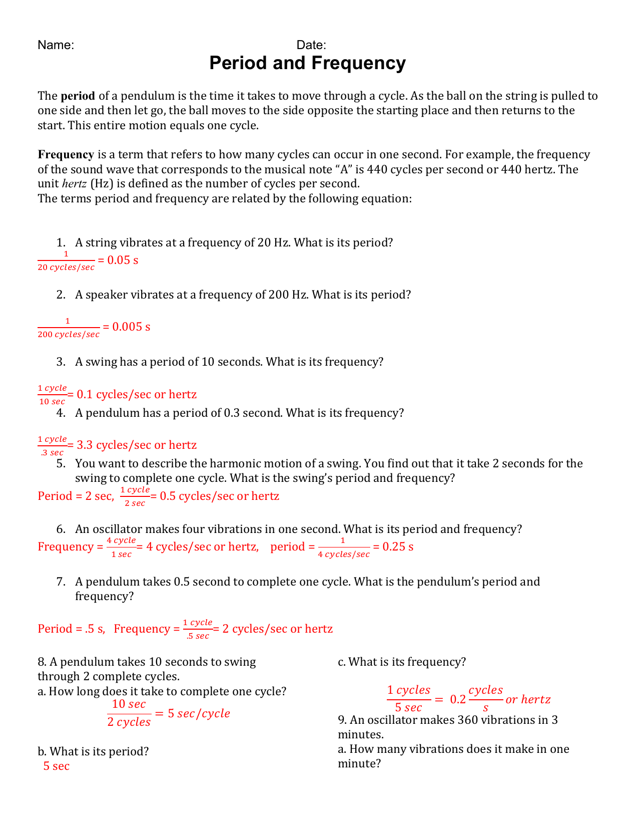 Period And Frequency Worksheet Answers