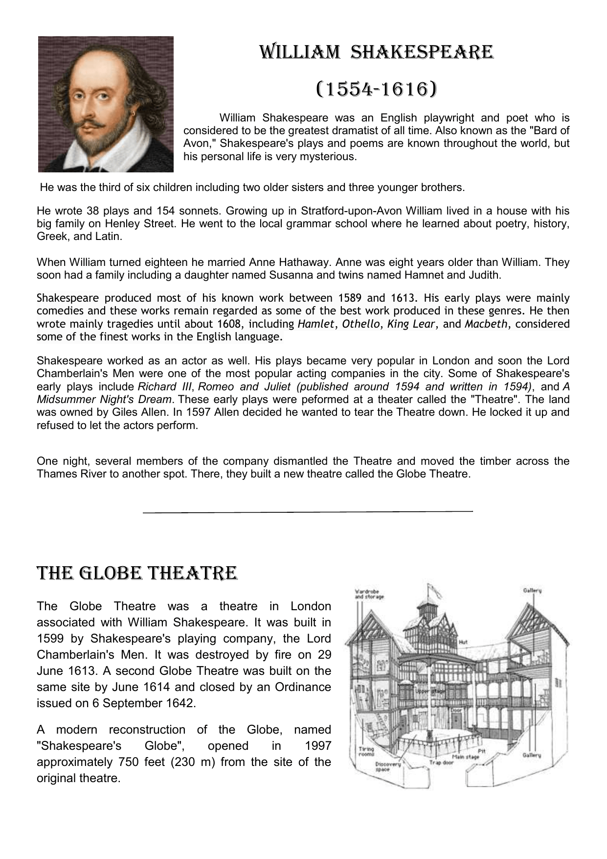 William Shakespeare Biography And Questions