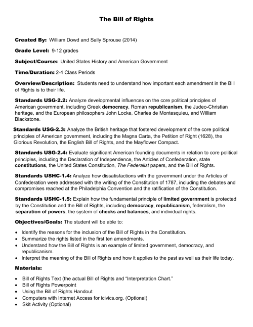 small resolution of bill of rights lesson plan - 9 to 12