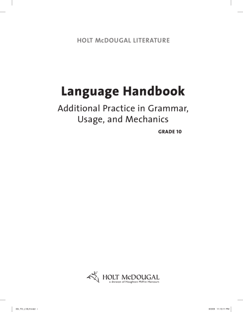 small resolution of Language Handbook Worksheets
