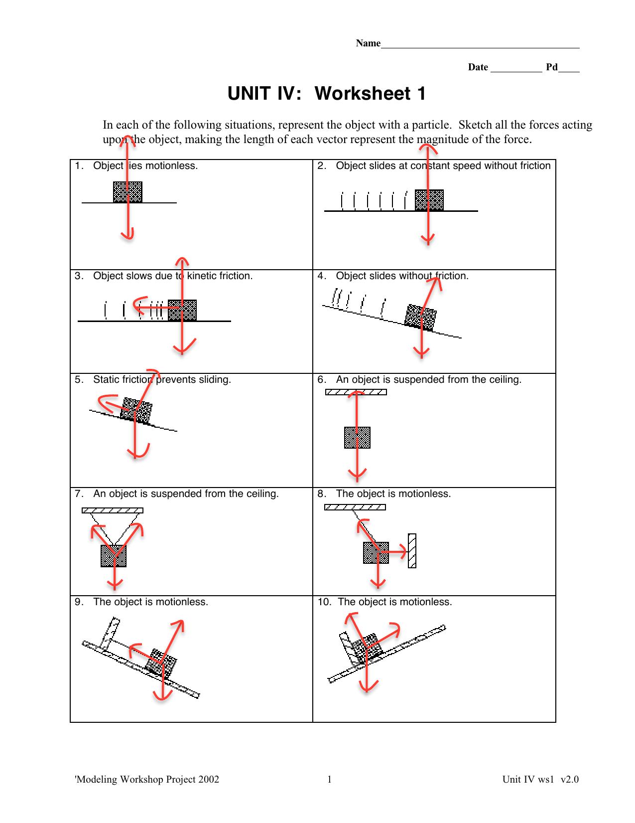 Free Body Diagram Worksheet Copy