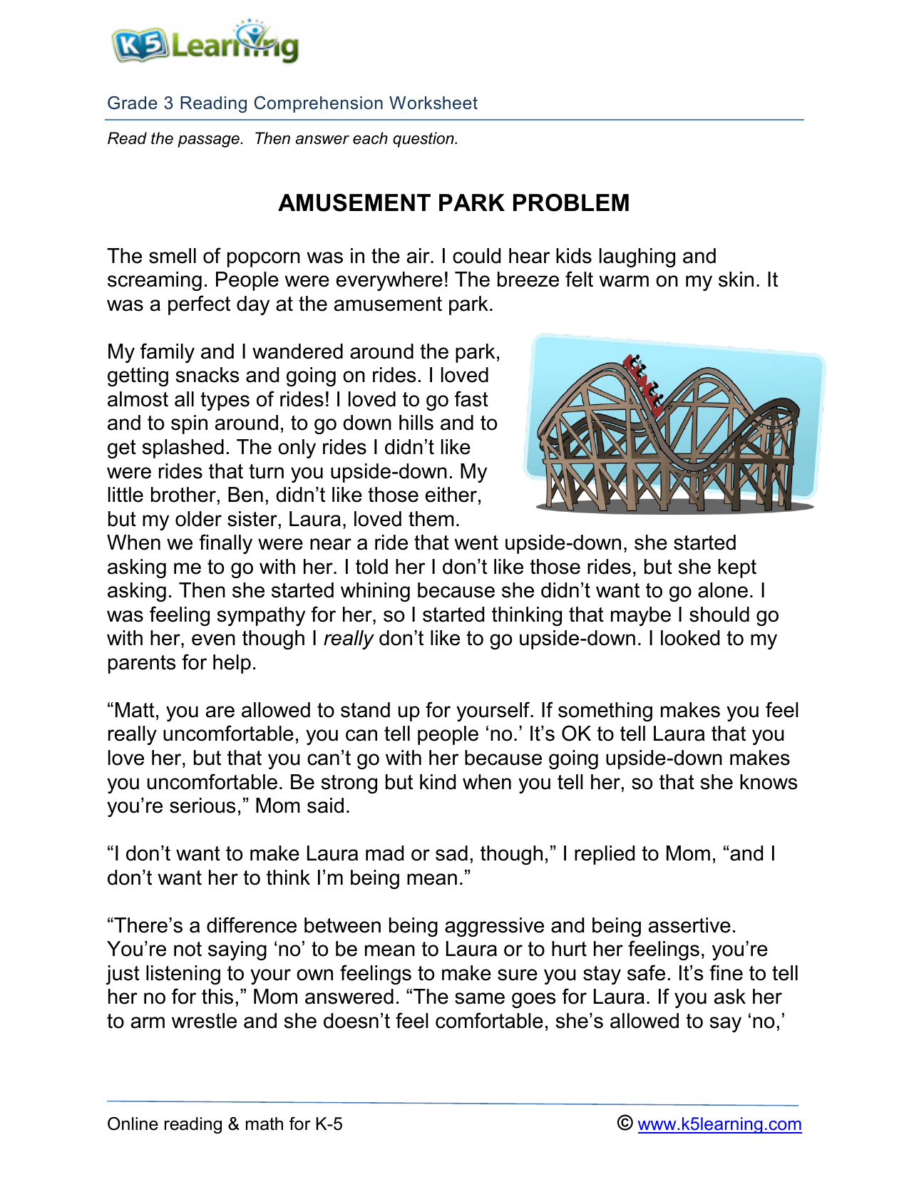 3rd Grade Reading Comprehension Amusement Park