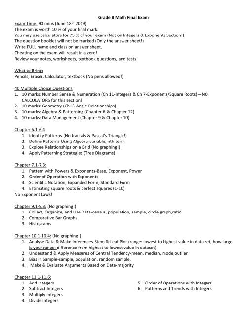 small resolution of Grade 8 Math Final Exam Review Sheet