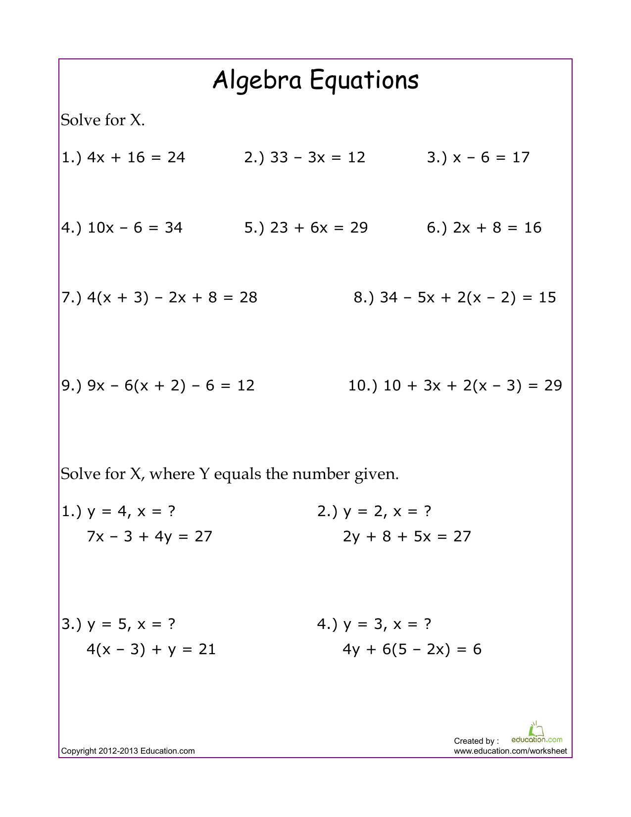 Linear Equations Worksheets Grade 8