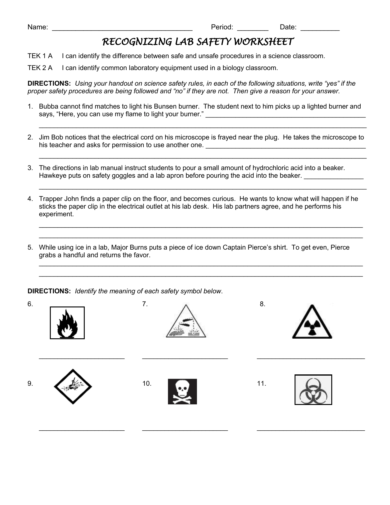 hight resolution of Lab Safety Worksheet 11