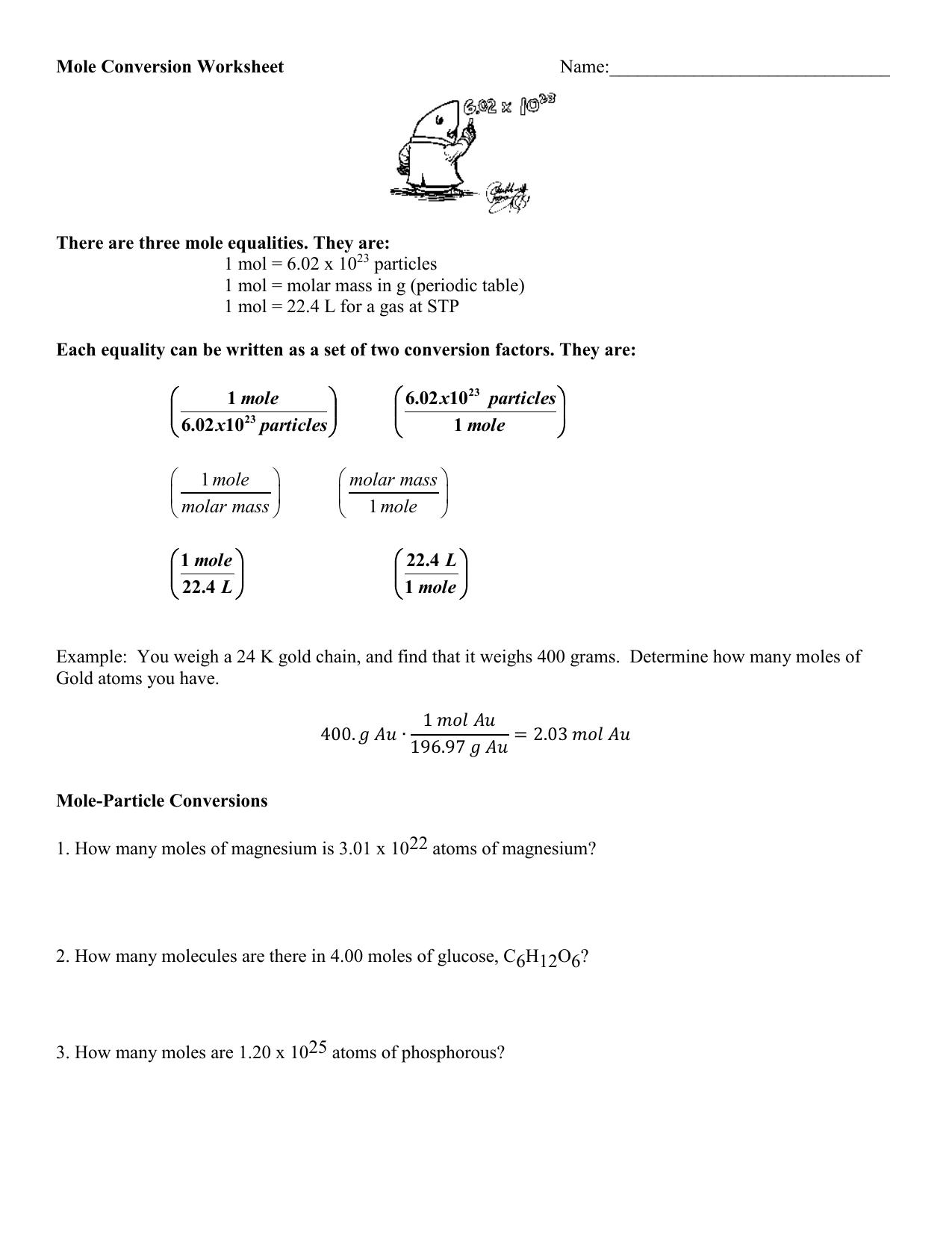 Ch U6 A1 Number Mass Mole Worksheet