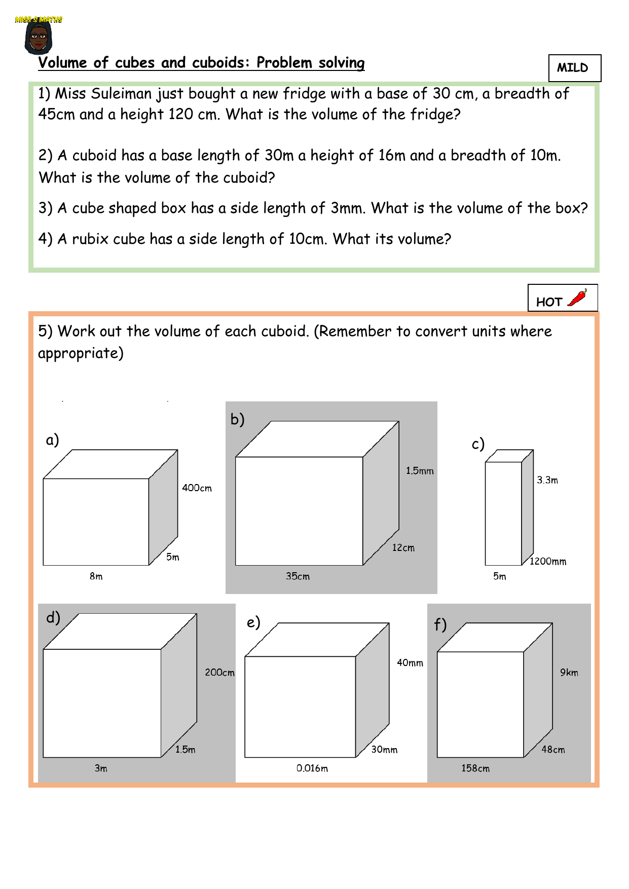Volume Of Cuboids Differentiated Problem Solving