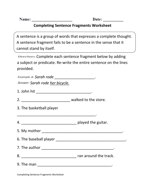 small resolution of Sentence Or Fragment Worksheet   Printable Worksheets and Activities for  Teachers