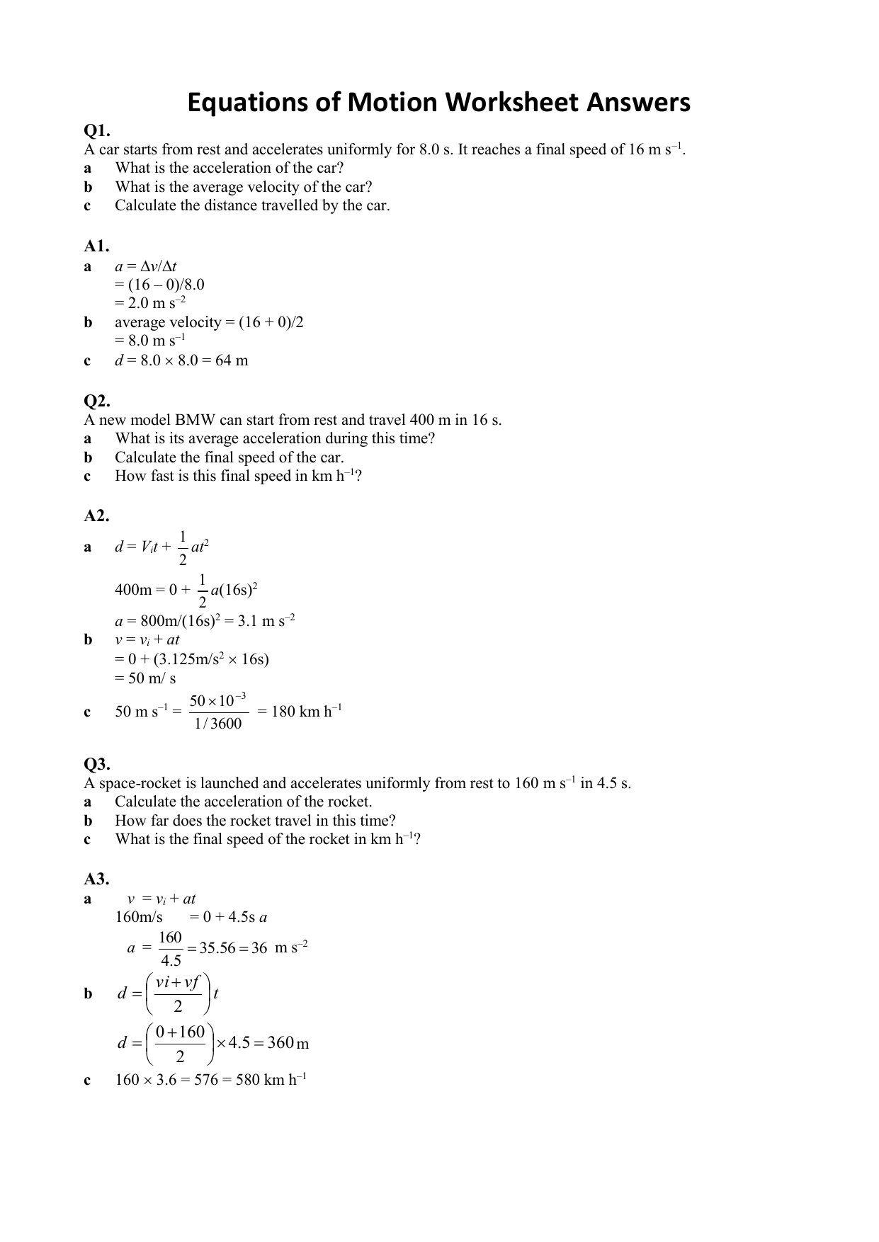 Equations Of Motion Worksheet With Answers
