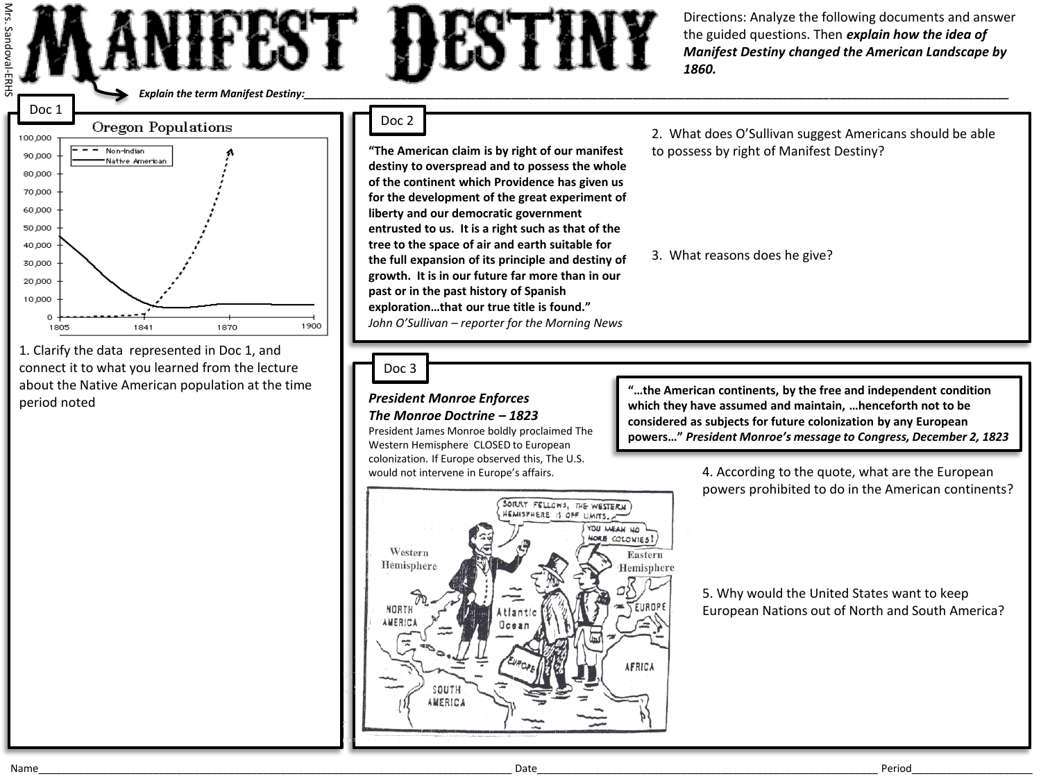 Manifest Destiny Worksheets And Map