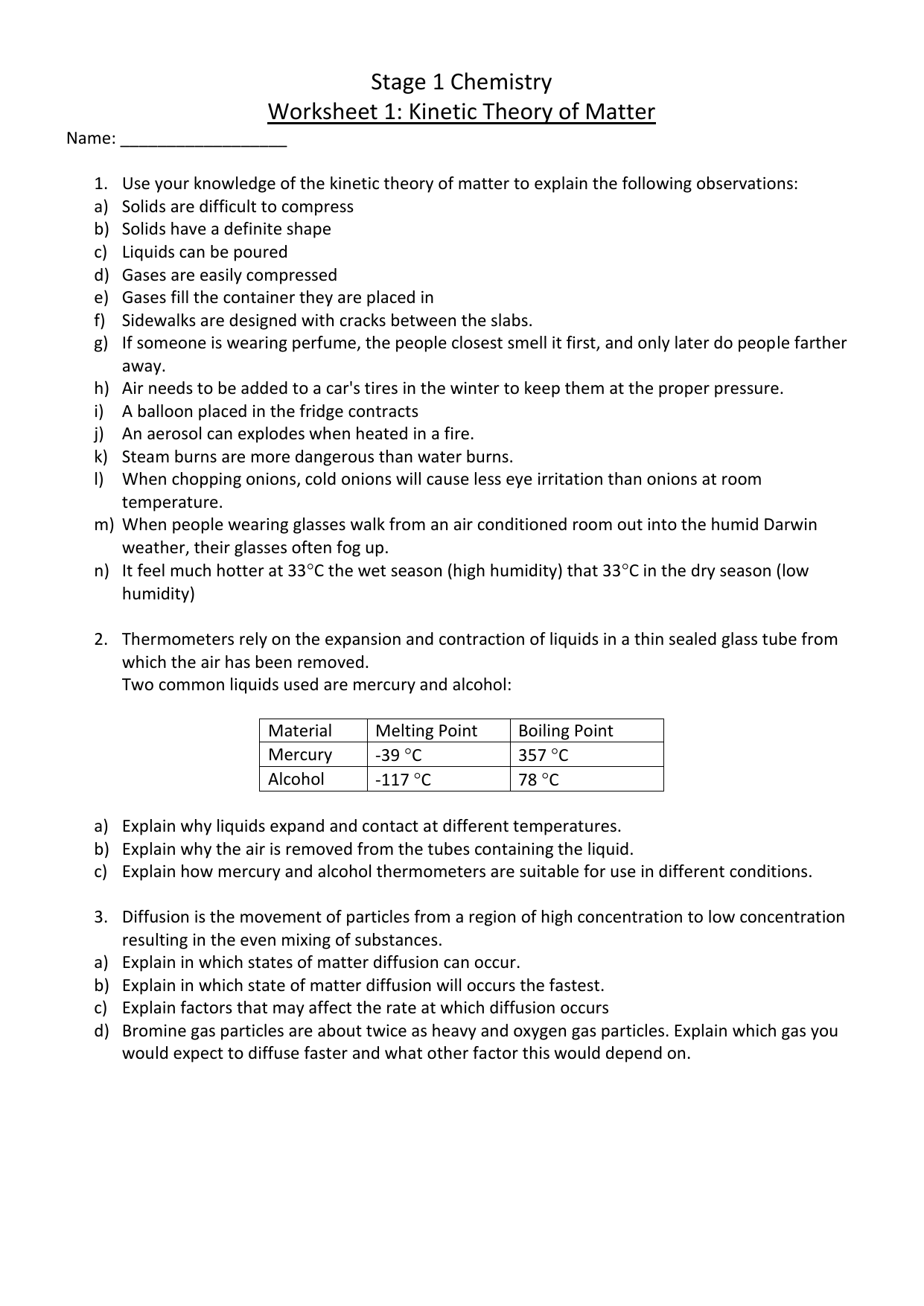 Kinetic Theory Of Matter Worksheet