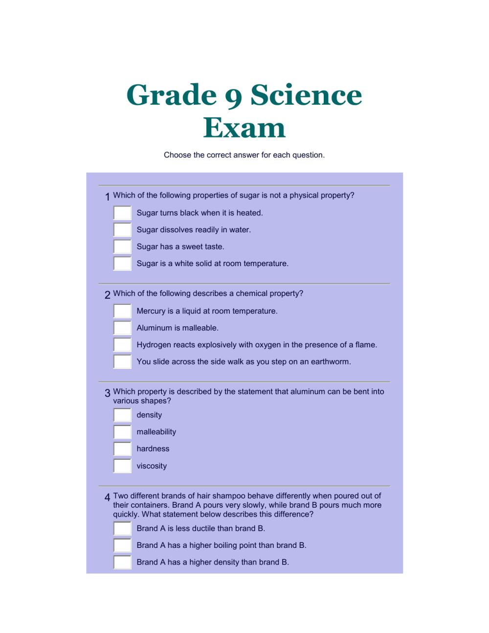 medium resolution of Grade 9 Science Exam1 - Chemistry