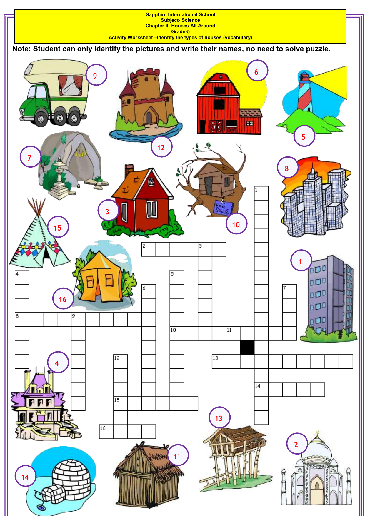 Types Of Houses Vocabulary Esl Crossword Puzzle Worksheet