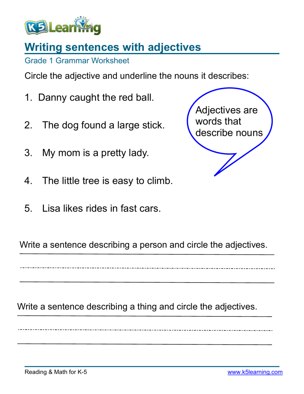medium resolution of grammar-worksheet-grade-1-adjectives-1