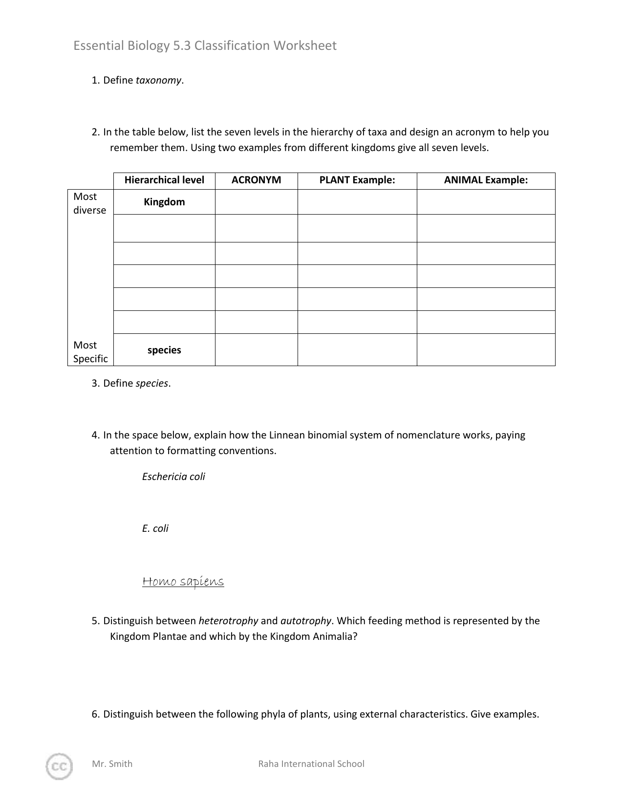 5 3 Classification Of Biodiversity Worksheet
