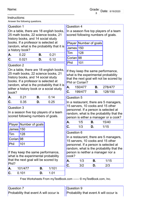 small resolution of Probability test