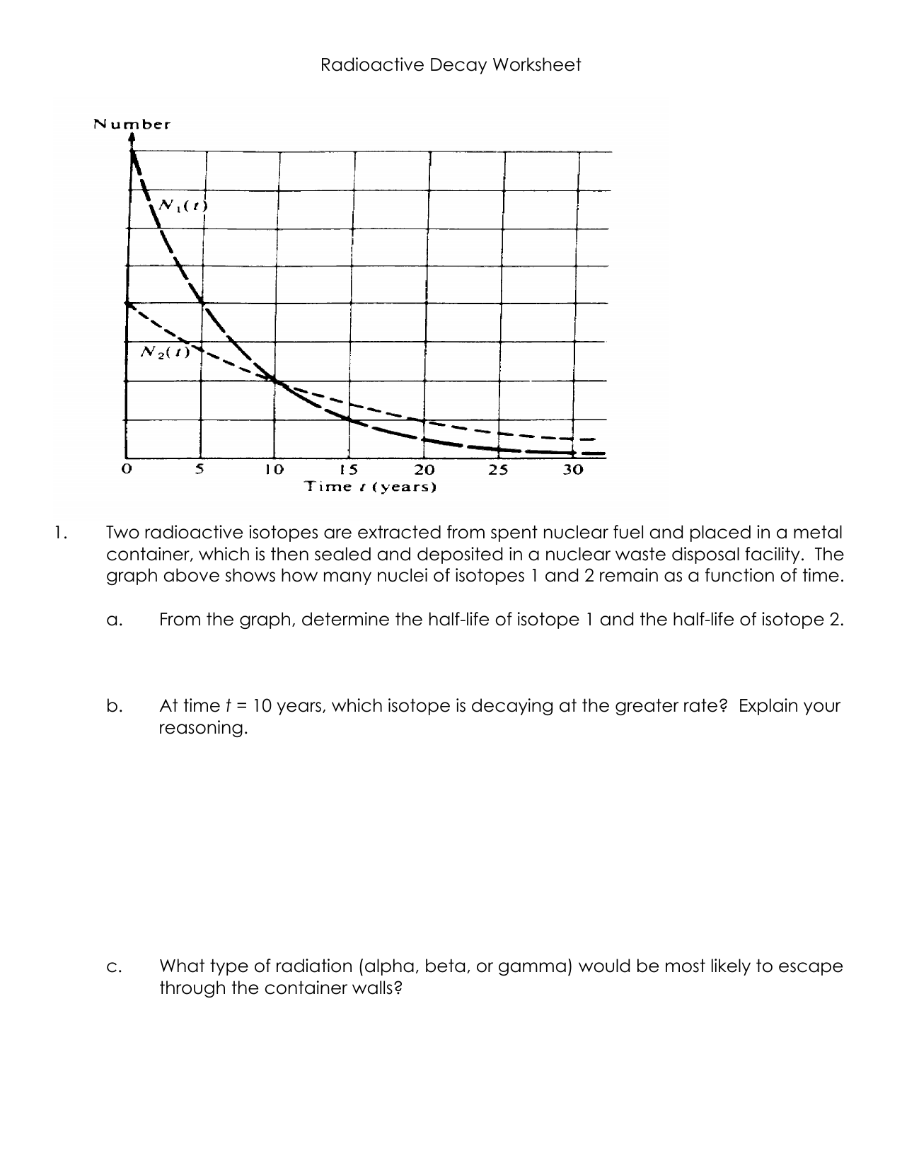 Radioactive Decay Worksheet