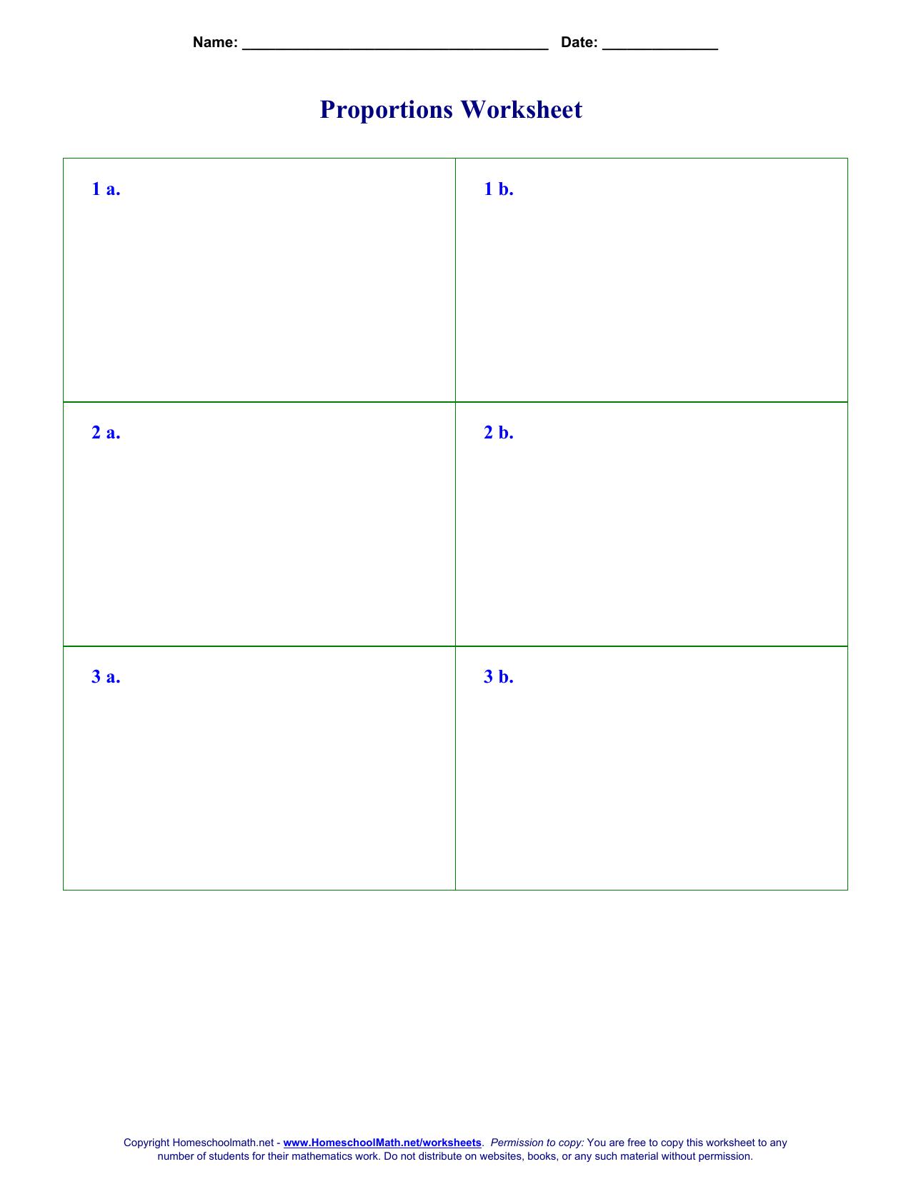 Proportions Worksheet 1